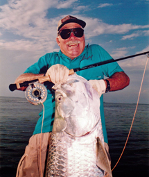 Stu Apte with giant tarpon on fly